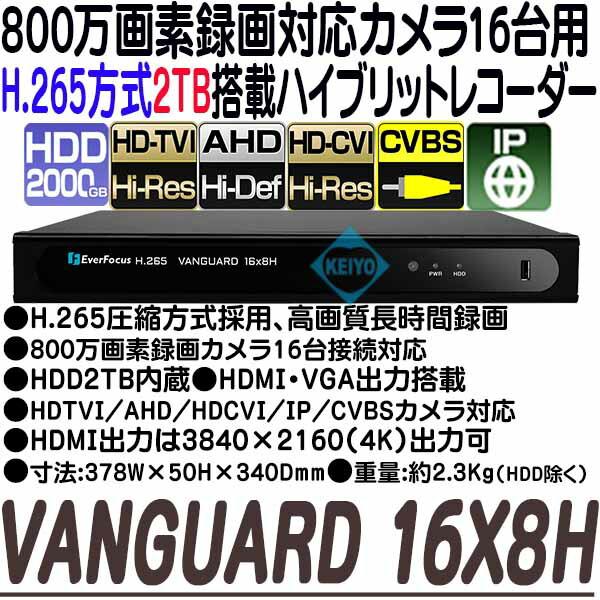 VANGUARD-16X8H(2TB)【EverFoucs製H.265方式マルチフォーマット対応16台用録画機】