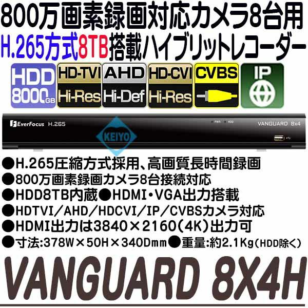 VANGUARD-4X2H(8TB)【EverFoucs製H.265方式マルチフォーマット対応8台用録画機】