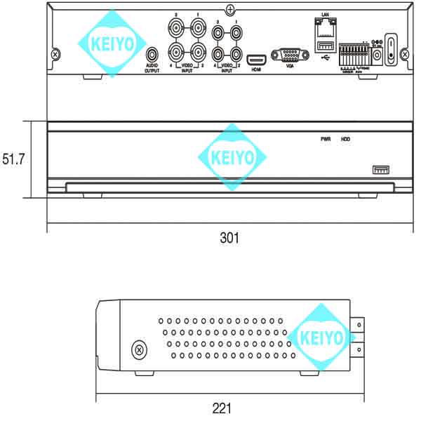 WTW-DA334E(2TB)【H.265方式800万画素録画対応4台用レコーダー】