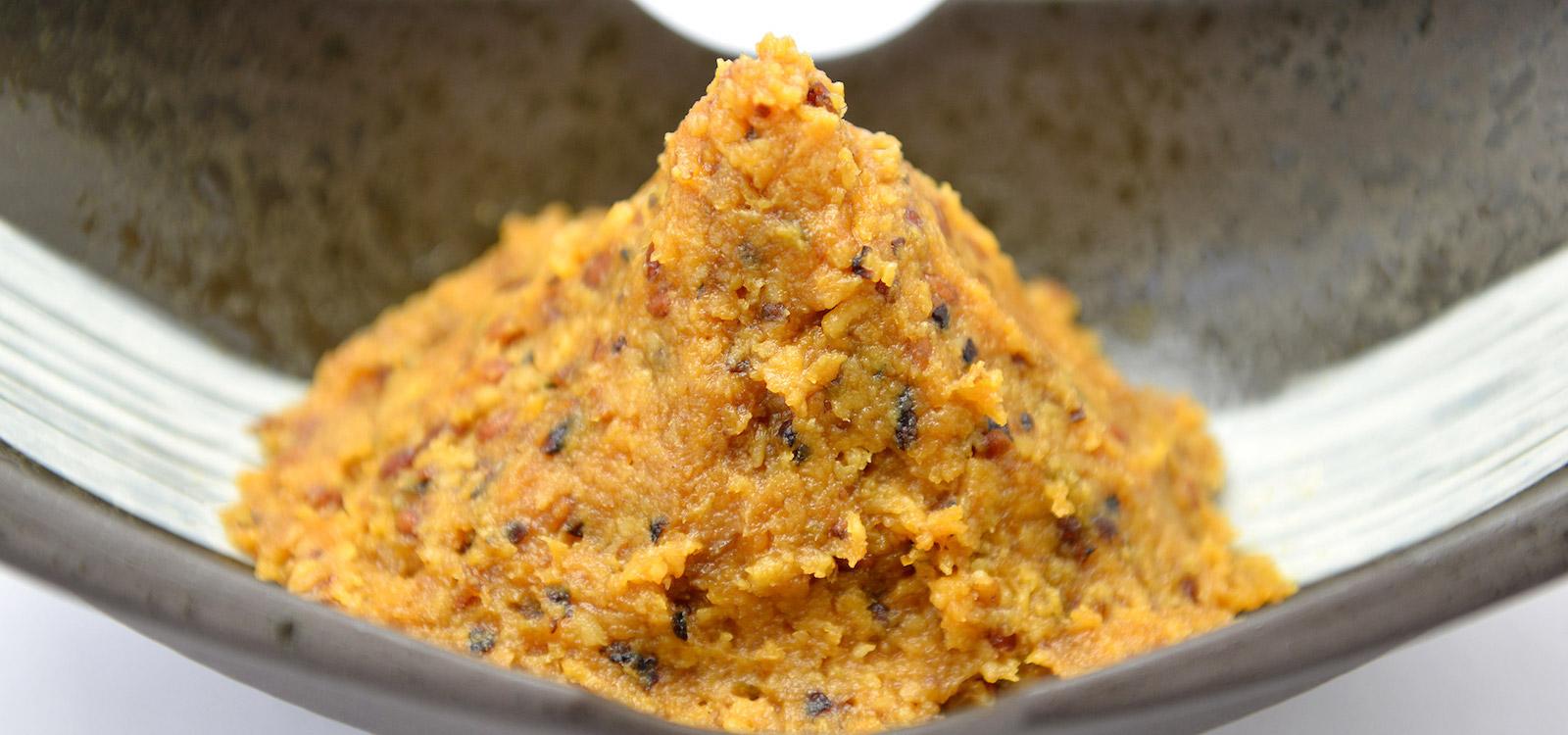 21種類の米、大豆を使用した味噌。わいわい楽しくお召し上がりください。