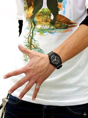 NIXON 腕時計 ニクソン TIME TELLER P NA119000-00 ブラック 着用
