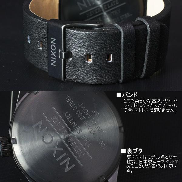ニクソン 腕時計 NIXON THE SENTRY LEATHER セントリー NA105001 All Black