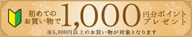 初めてのお買い物で1000円分ポイントプレゼント