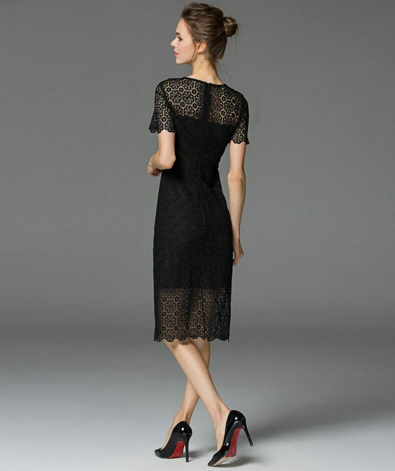 Maxi ファッション Lavanderia da Shelli Segal Nero Bretelle Sottili Lace-Trim Maxi Abito 10 ドレス