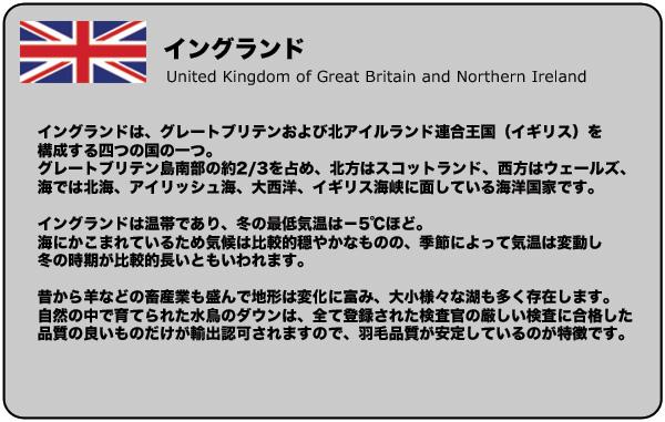 イングランドは、グレートブリテンおよび北アイルランド連合王国(イギリス)を構成する四つの国の一つ。グレートブリテン島南部の約2/3を占め、北方はスコットランド、西方はウェールズ、海では北海、アイリッシュ海、大西洋、イギリス海峡に面している海洋国家です。イングランドは温帯であり、冬の最低気温は−5℃ほど。海にかこまれているため気候は比較的穏やかなものの、季節によって気温は変動し冬の時期が比較的長いともいわれます。昔から羊などの畜産業も盛んで地形は変化に富み、大小様々な湖も多く存在します。自然の中で育てられた水鳥のダウンは、全て登録された検査官の厳しい検査に合格した品質の良いものだけが輸出認可されますので、羽毛品質が安定しているのが特徴です。