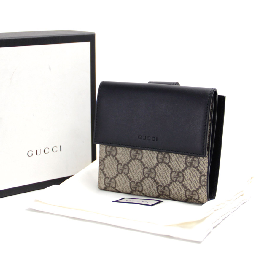 f0b1bde09a52  there is reason   new article  Gucci  Gucci  French flap wallet W hook  folio wallet Lady s men brown x black GG スプリームキャンバス x leather