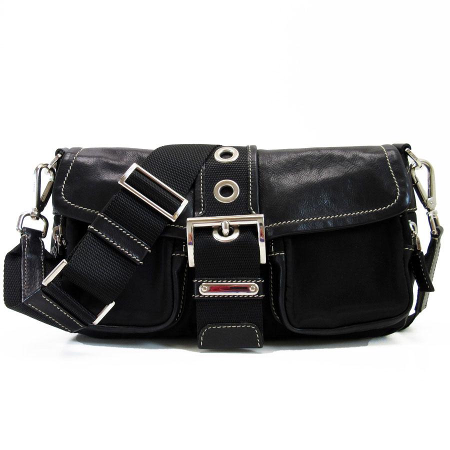 cadf2648ee1b Take Prada PRADA slant  shoulder bag black x silver x white stitch leather  x nylon Lady s - t12047