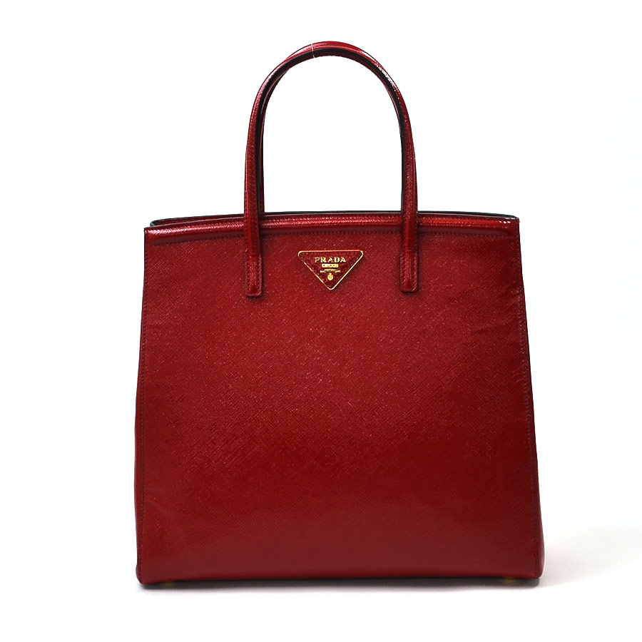 87c3063fa128 Brandvalue Take Prada Handbag Slant Shoulder Bag 2way バッグ. Prada Red And  White Saffiano Vernice Patent Leather Bau Flower Top Handle Bag Nextprev ...