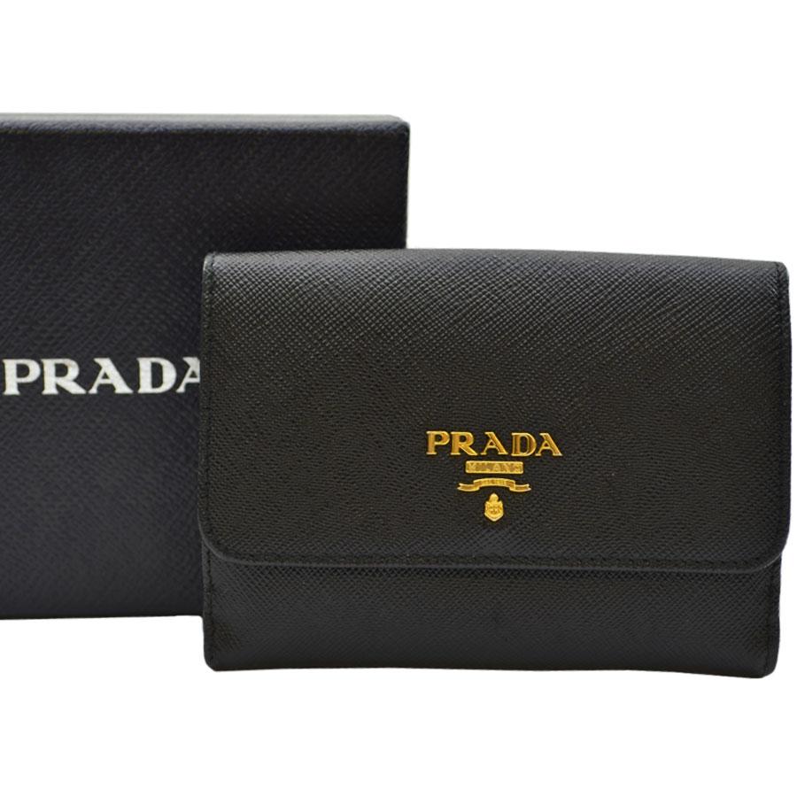 276941a6f5dc 【定番人気】 【】プラダ【PRADA】 Wホック二つ折り財布 レディース ブラック レザー