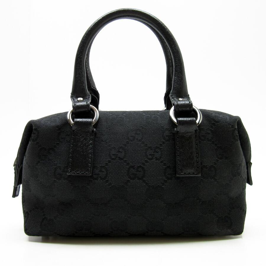 15dbb6615 [basic popularity] [used] Gucci [GUCCI] GG pattern handbag Lady's black  canvas x leather
