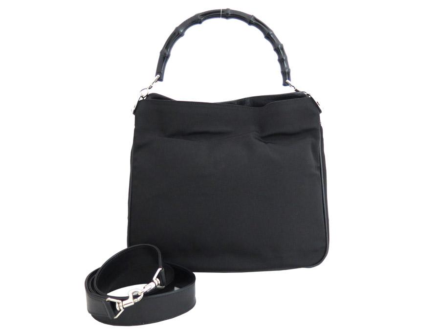 buy online f57bf 16261 グッチ GUCCI 2wayバッグ バンブー ブラックxシルバー金具 ...