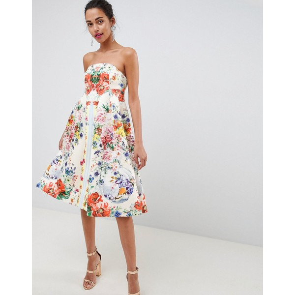 1d92e2a294dce エイソス レディース ワンピース トップス ASOS DESIGN bandeau floral midi trapeze prom dress  Multi エイソス レディース トップス ワンピース Multi 全商品無料 ...