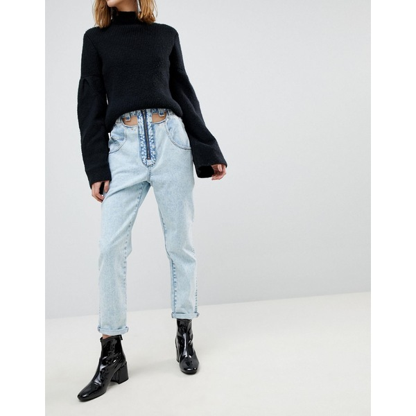 3fd8a8ca4cb52 エイソス レディース デニムパンツ ボトムス ASOS ORIGINAL MOM Jeans in Light Vintage Wash With  Cut Away Self Belt Light vintage 。