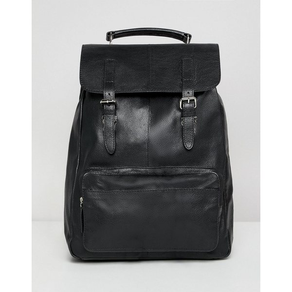 9d8f3a1f90a6 エイソス メンズ バックパック·リュックサック バッグ ASOS DESIGN leather backpack in black with  front pocket and double straps Black エイソス メンズ バッグ ...