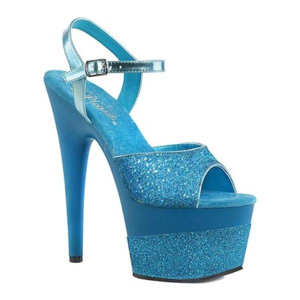 Pleaser Adore 708CG Clear Silver Confetti Glitter Ankle Strap Platform Sandals