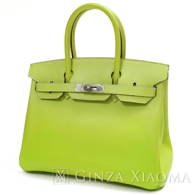 Pre Owned Rank A Good Condition Hermes Birkin 30 Handbag In Kiwi And Lichen Interior Epsom Leather With Silver Hardware