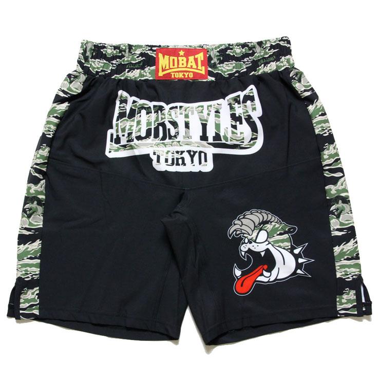 ファイトショーツ ランニング 格闘 ブラック×タイガーカモ MOSH PANTS ショートパンツ モブスタイルス ポケット有り タイガーカモ トレーニング 両サイド S M L XL ジム MOBSTYLES ZIP