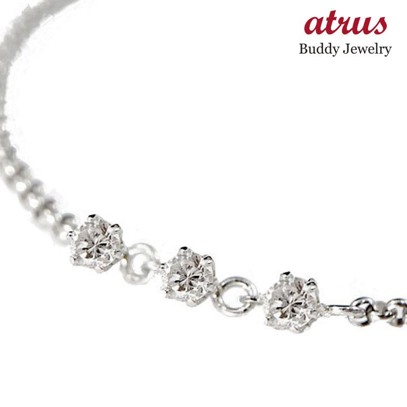 【送料無料】ダイヤモンド:アンクレット:トリロジー:プラチナ850:ダイヤモンド:0.21ct:特別価格:【工房直販】