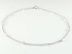 天然ダイヤモンド,K18WG,アンクレット
