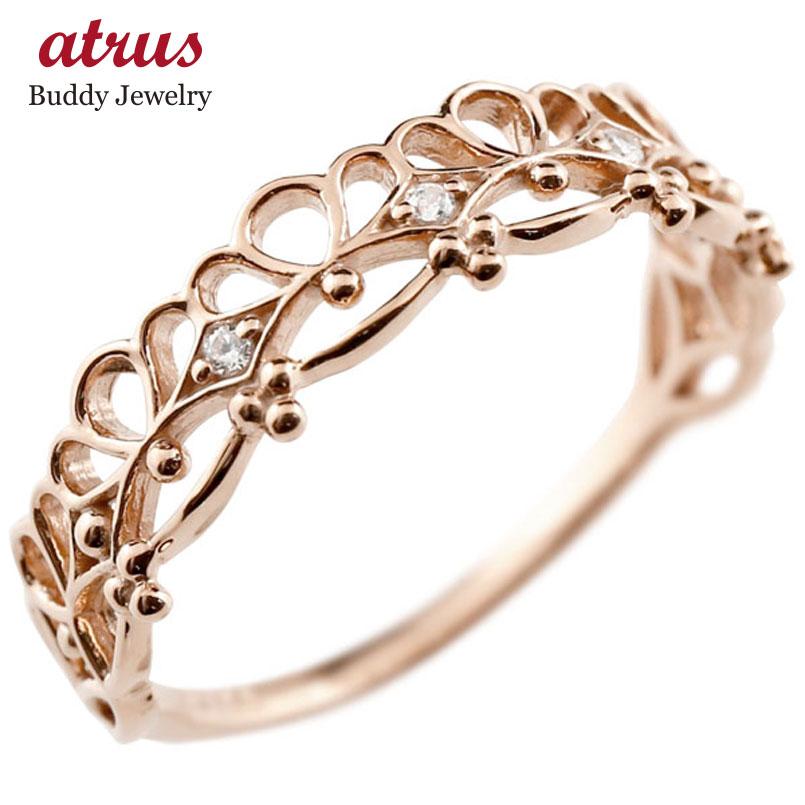 ダイヤモンド ゴールドリング ピンキーリング レース模様 ダイヤ k10 極細 華奢 アンティーク ストレート 指輪
