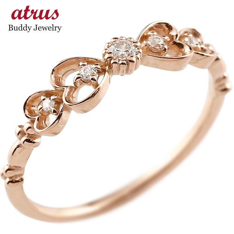 ダイヤモンド ゴールドリング ピンキーリング りぼん リボン ダイヤ k18 極細 華奢 アンティーク ストレート 指輪