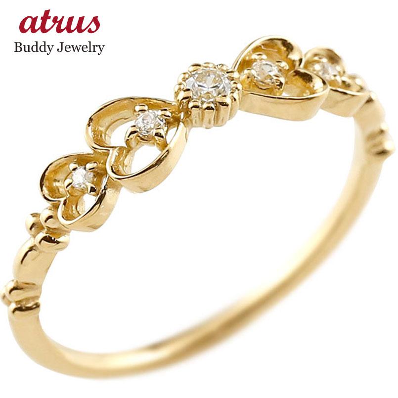 ダイヤモンド ゴールドリング ピンキーリング りぼん リボン ダイヤ k10 極細 華奢 アンティーク ストレート 指輪