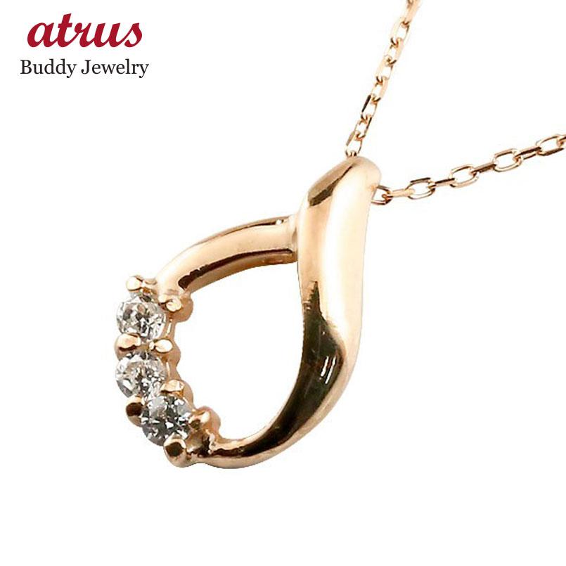 ダイヤモンド ピンクゴールドk10ネックレス ダイヤモンド ペンダント ドロップ型 チェーン 人気 4月誕生石 10金