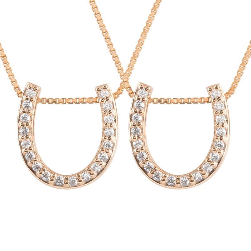 ペアネックレス 馬蹄 ネックレス ダイヤモンド ペンダント ピンクゴールドk18 ホースシュー 蹄鉄 ダイヤ 18金 チェーン 人気 バテイ