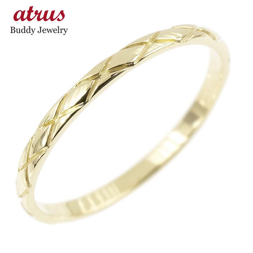 ピンキーリング イエローゴールドk18 極細 18金 華奢 アンティーク ストレート 指輪