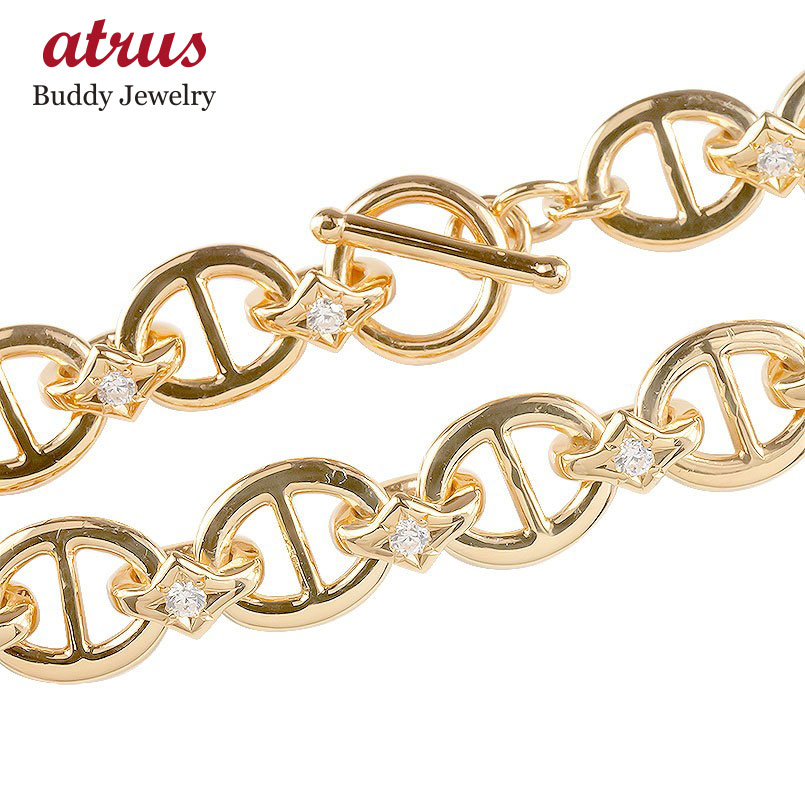 18金 ブレスレット ダイヤモンド メンズ マンテル留め 男性 アンカーチェーン トグルクラスプ金具 ダイヤ