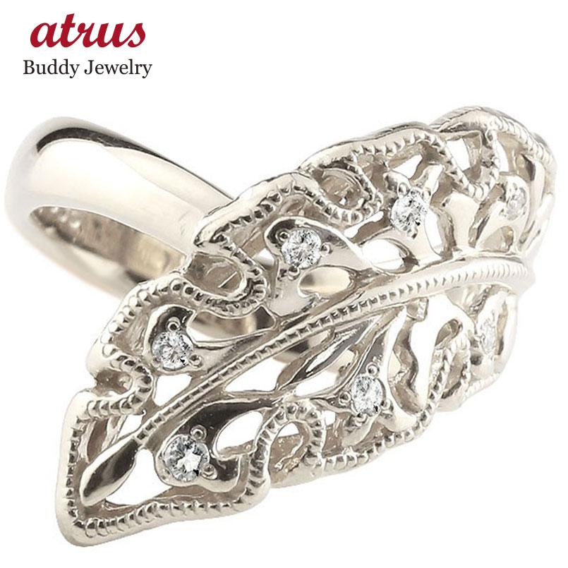 ピンキーリング 指輪 ホワイトゴールドk18 ダイヤモンド リング 指輪 リーフ シンプル 18金 メンズ