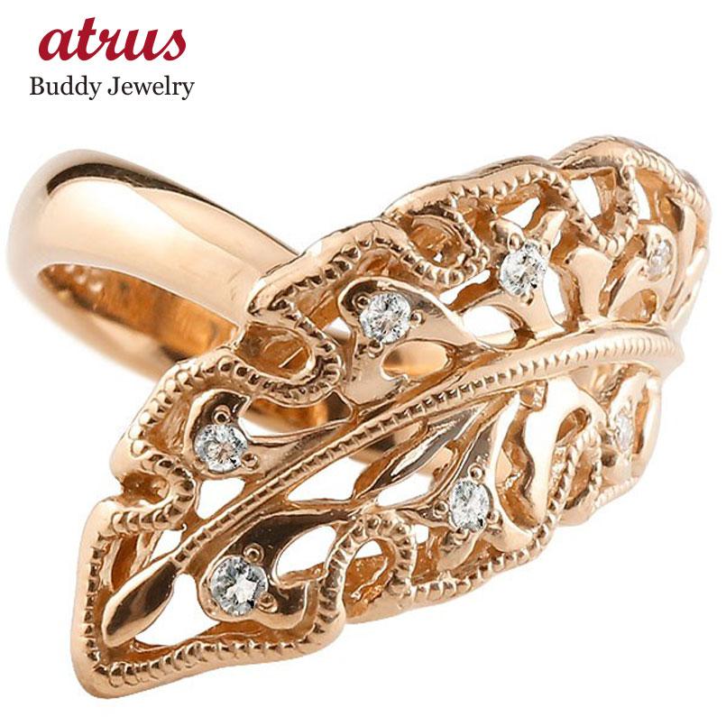 ピンキーリング 指輪 ピンクゴールドk10 ダイヤモンド リング 指輪 リーフ シンプル 10金 レディース