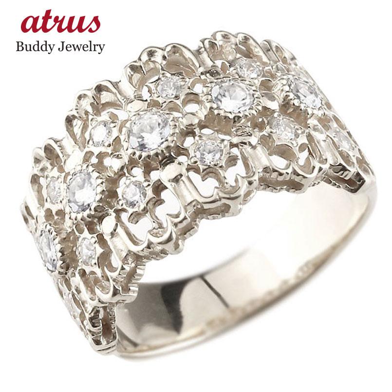 ピンキーリング 指輪 ホワイトゴールドk18 ダイヤモンド リング 指輪 シンプル 18金 レディース