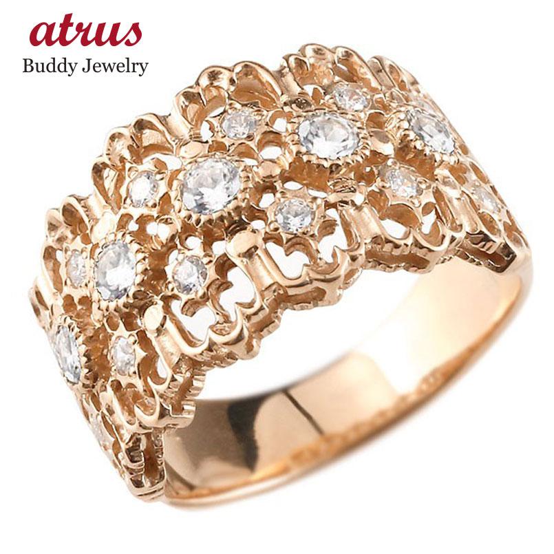 ピンキーリング 指輪 ピンクゴールドk18 ダイヤモンド リング 指輪 シンプル 18金 メンズ