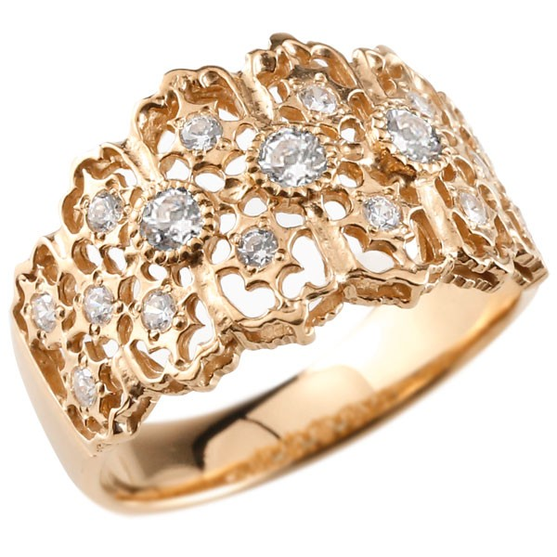 ピンキーリング 指輪 ピンクゴールドk18 ダイヤモンド リング 指輪 シンプル 18金 レディース