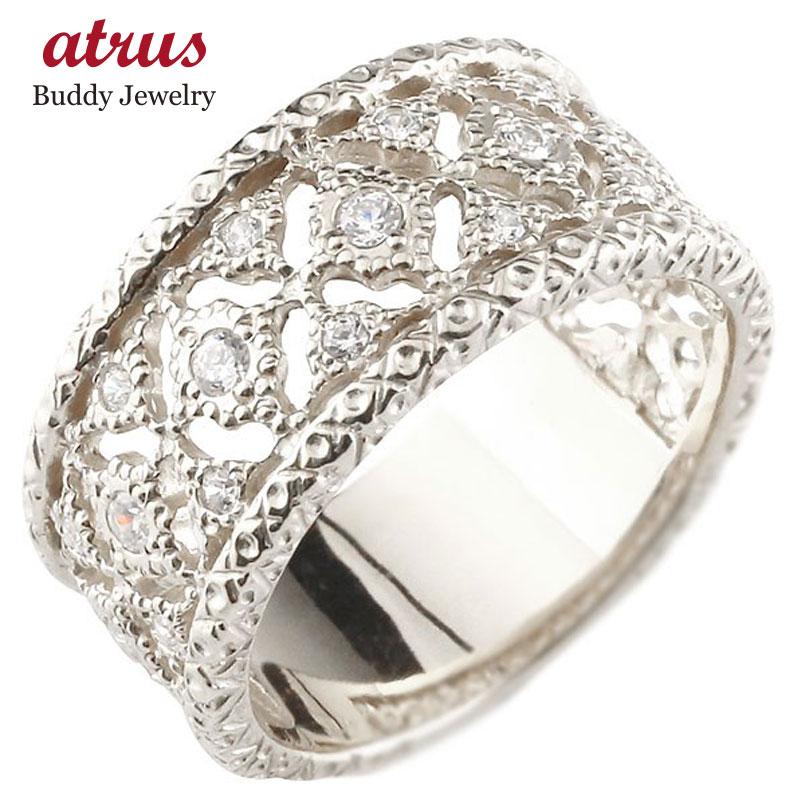 ピンキーリング 指輪 ホワイトゴールドk18 ダイヤモンド リング 指輪 シンプル 18金 メンズ