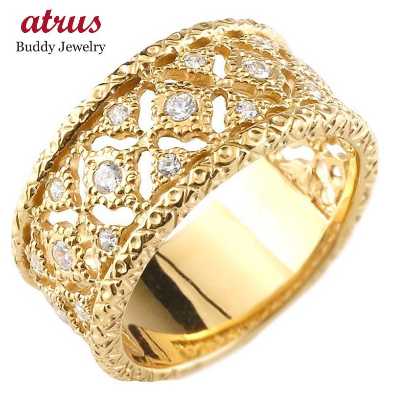 ピンキーリング 指輪 イエローゴールドk10 ダイヤモンド リング 指輪 シンプル 10金 メンズ