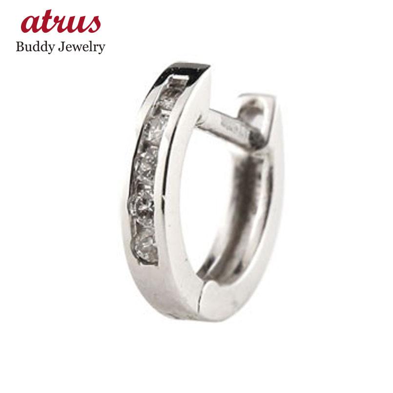 フープピアス ダイヤモンド 中折れ式ピアス ホワイトゴールドk18 ダイヤ レディース