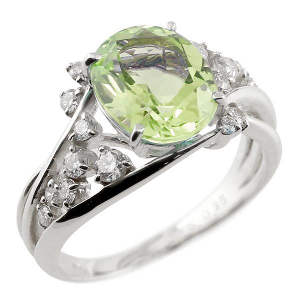 一粒 ペリドット ホワイトゴールドk10 大粒 指輪 ダイヤモンド 8月誕生石 10金
