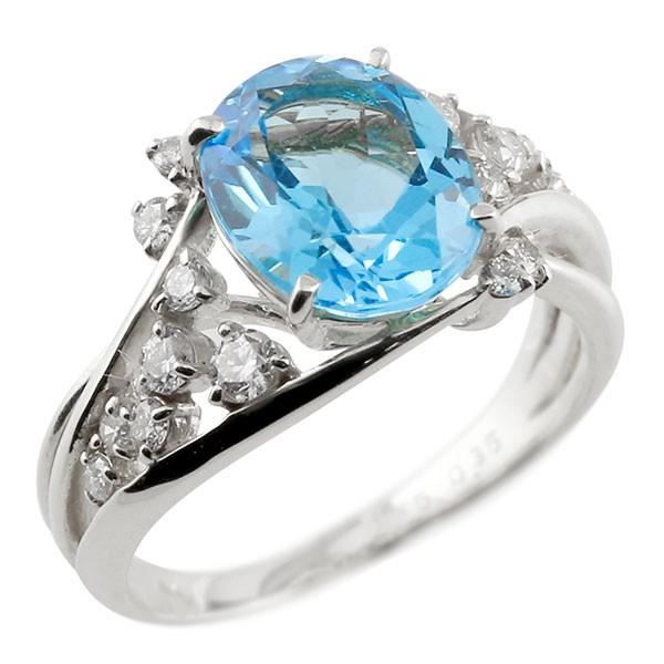 一粒 ブルートパーズ ホワイトゴールドk10 大粒 指輪 ダイヤモンド 11月誕生石 10金