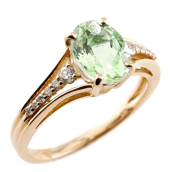 一粒 ペリドット ピンクゴールドk18 大粒 指輪 ダイヤモンド 8月誕生石 18金