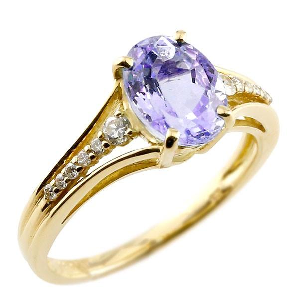 一粒 アメジスト イエローゴールドk10 大粒 指輪 ダイヤモンド 2月誕生石 10金