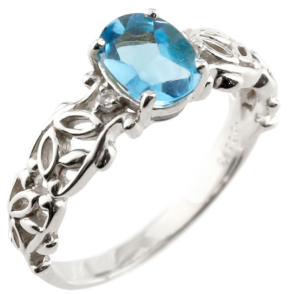 プラチナ 一粒 ブルートパーズ 大粒 指輪 ダイヤモンド 11月誕生石