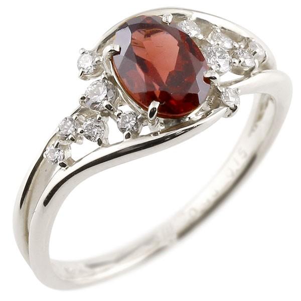 一粒 ガーネット ホワイトゴールドk10 大粒 指輪 ダイヤモンド 1月誕生石 10金