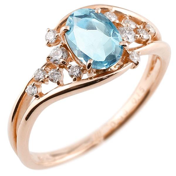 一粒 ブルートパーズ ピンクゴールドk18 大粒 指輪 ダイヤモンド 11月誕生石 18金