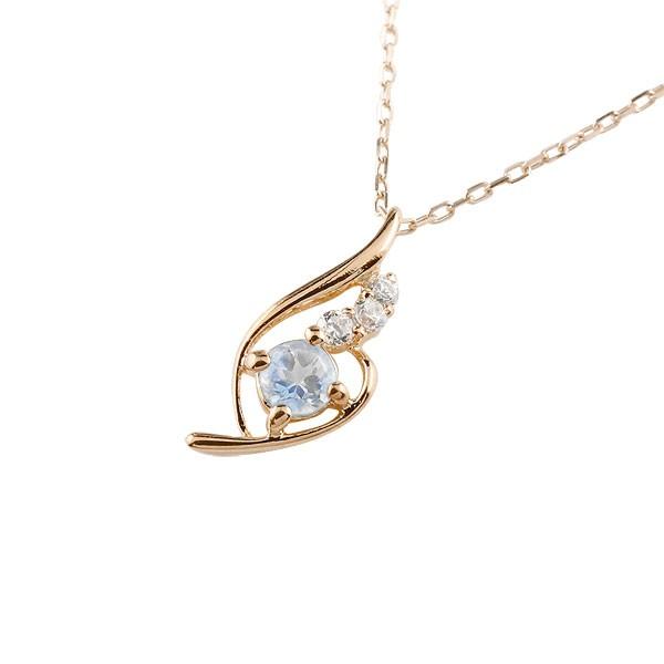 ブルームーンストーン ネックレス ダイヤモンド ペンダント ピンクゴールドk10 チェーン 人気 6月誕生石 10金