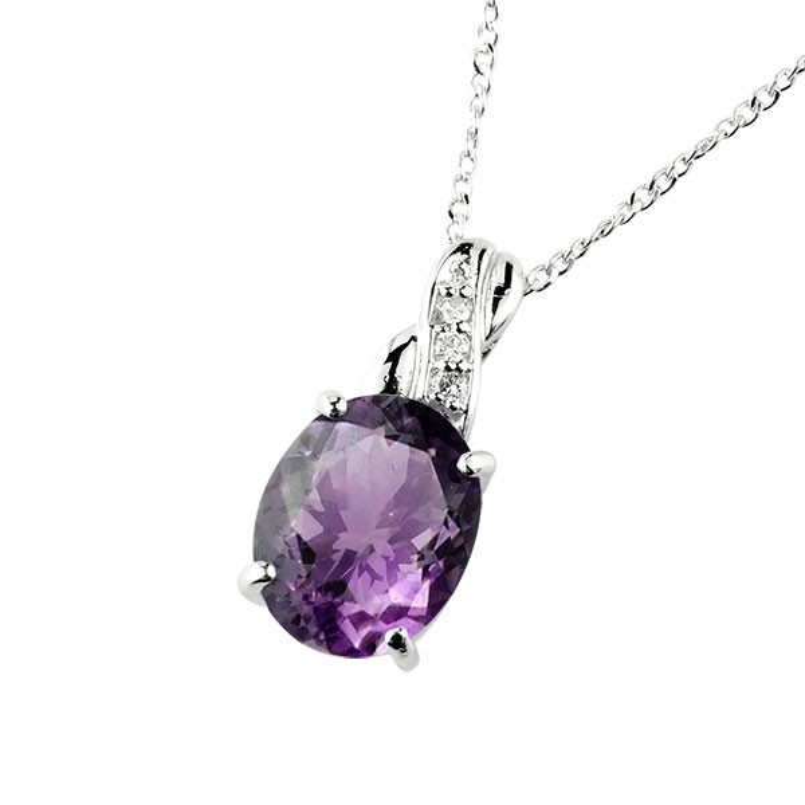 ネックレス アメジスト ペンダント ダイヤモンド ホワイトゴールドk18 シンプル レディース チェーン k18 人気 2月誕生石