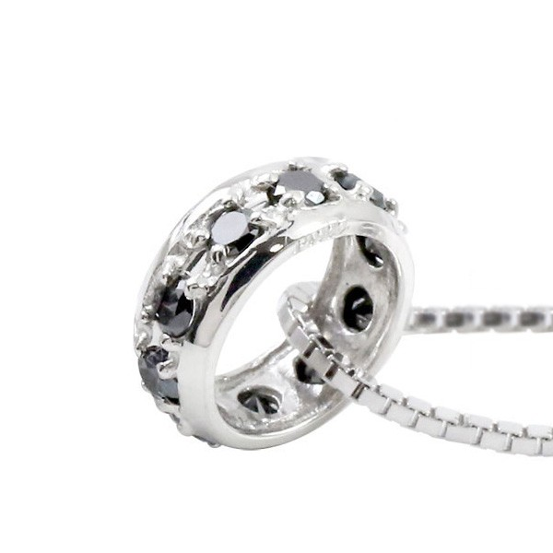 ネックレス メンズ ブラックダイヤモンド ネックレス ペンダントプラチナ900  ダイヤリングネックレス エタニティー プラチナ 人気 男性用
