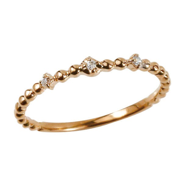 リング ダイヤモンド 猫 ピンクゴールドk18 エンゲージリング 幅広 指輪 ピンキーリング 婚約指輪 18金 宝石 ねこ ネコ レディース