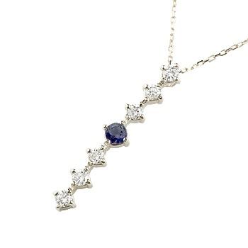 サファイア ダイヤモンド ネックレス 7石 ペンダント ダイヤ ホワイトゴールドk18 アンティーク風 18金 チェーン 人気 9月誕生石